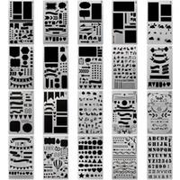 cuaderno diario diy al por mayor-Bullet Journal Stencil 4x7 pulgadas planificador de plástico plantillas de diseño para diario / cuaderno / diario / libro de recuerdos DIY plantilla de dibujo 20 piezas / set