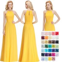 basit sarı şifon nedime elbiseleri toptan satış-2018 Basit Ucuz Sarı Gelinlik Modelleri Seksi Halter Şifon Kat Uzunluk Düğün Konuk Elbise Gerçek Görüntü Ücretsiz Kargo BM0038