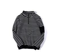 Wholesale Turtleneck Hoodie Mens - Stripe turtleneck embroidery high street mens hoodies pullover skateboard hip hop street wear men hoodies sweatshirts hipster women D25
