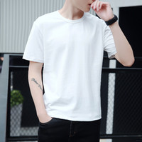 Wholesale pure white tee online - Men s Short Sleeved T shirt O Neck Summer Pure Color Tee Colors Fashion T shirt For Man And Women