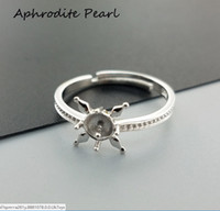 Wholesale adjustable blank rings - Sterling silver ring setting, adjustable ring mounting, ring blank without pearl,jewelry DIY, gift DIY