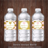 Wholesale wholesale birthday decoration supplier online - 20 Princess Party Water Bottle Labels Gold Pink Glitter Heart Candy Bar Birthday Baby Shower Party Decoration Supplier