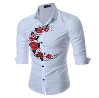 impresiones en rosa blanco negro al por mayor-Moon and Rose Printing Shirts Black White 3/4 Sleeve Autumn Design Nuevas camisas informales