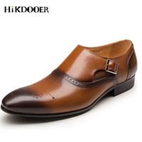19a0b281 zapatos tallados al por mayor-2018 hombres zapatos de vestir clásicos de cuero  genuino Wingtip