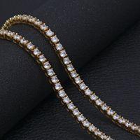 Wholesale opal pendant men - NEW Silver gold color Round 5mm AAA Cubic Zircon Tennis necklaces Mens hop hop jewelry necklace Classic Rome Charm For Women Men wedding