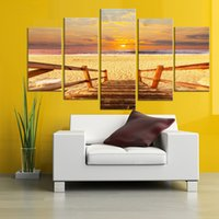 Wholesale mirrored panels for wall online - Modern Painting Frame Art Poster HD Wall Modular Panel Beach Landscape Picture Home Decoration Print On Canvas For Living Room