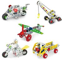 coches de juguete de montaje al por mayor-Montaje en 3D Vehículos de ingeniería de metal Kits de modelo Toy Car Crane Camión de la motocicleta Avión Puzzles Construcción Juego de construcción