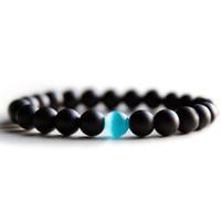 ingrosso pietra opale per gli uomini-Opal Bead Bracelet For Men Nero 8 mm Natural Stone Healing Reiki Prayer Beads Yoga Strand Bracciale Bangles S M L Taglie