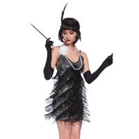 ingrosso abiti scontati europei-Ruggenti anni 1920 Flapper Dress Costumes Grande Gatsby Party Dress Scollo a V Backless Spaghetti Strap Fringe Mini Dance