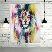 Wholesale canvas wall prints lion for sale - Group buy New Hand Painted Modern Abstract Color Lion Animals Wall Art Oil Painting Home Wall Decor On Canvas Multi sizes a17