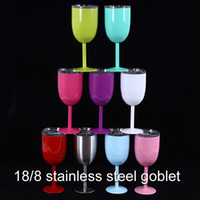 Wholesale Aluminum Drinking Water - 10oz Goblet Stem Wine egg cups wine glasses Vacuum Insulated mug Stainless Steel with lid egg shape mug cup 9 color