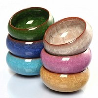 yixing lehm großhandel-6 stücke Kung Fu Teetasse Set Crackle Glasur 30 ml Reise Chinesische Porzellan Teetasse Keramik Yixing Lila Ton Tee Service