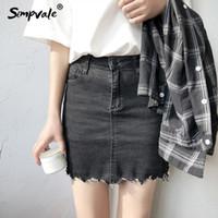 Wholesale irregular hem skirt - SIMPVALE Summer women high waist denim pencil skirt irregular hem mini jean skirts female black bodycon slim short skirt bottoms