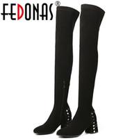 ingrosso donne nere di punk nere-FEDONAS Punk Black Women High Heels Knight Boots Rivetti Nero Slim Long Night Club Shoes Scarpe Donna Tight High Boots Scarpe