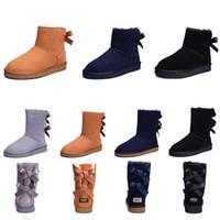 ankle boots para mulheres curtas venda por atacado-Mulheres botas Curto Mini Austrália Clássico Na Altura Do Joelho Botas de Neve de Inverno Designer Bailey Bow Tornozelo Bowtie Cinza Preto castanha vermelho 36-41