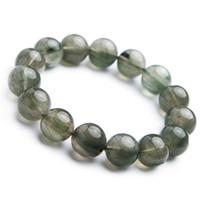 kuvars kristal yuvarlak boncuklar toptan satış-Hakiki Doğal Yeşil Rutilated Kuvars 14mm Drop Shipping Moda Kadınlar Kristal Yuvarlak Boncuk Bilezik Popüler Taş Takı