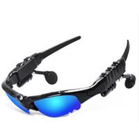 ingrosso occhiali bluetooth-HBS-368 Occhiali da sole Bluetooth Headset Occhiali da esterno Auricolari Musica con microfono Cuffie stereo senza fili per iPhone Samsung Blue / Rainbow