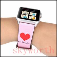 relojes suizos al por mayor-Para las bandas de la correa del reloj de Apple Correa genuina de cuero genuino rosa dulce correas Bandas 38/42 mm con adaptador de regalo de San Valentín