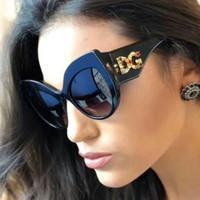ingrosso occhiali da sole diamanti designer-Occhiali da sole di marca di design di lusso per le donne Ladies Oversized Diamond Frame Specchio esterno 2019 New Fashion Occhiali da sole per donna UV400