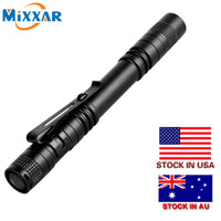 Wholesale wholesale pocket light pen - LED Flashlight Outdoor Pocket Portable Torch Lamp Mode LM Pen Light Waterproof Penlight with Pen Clip Stock in US