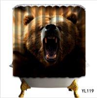 ingrosso tende all'orso-Moderna tenda della doccia in poliestere 3D dipinta urlando Orso Tenda da doccia Schermi da bagno Paesaggio Impermeabile Tenda da bagno tappetini