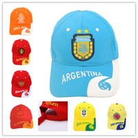 Wholesale world cup hats resale online - 2018 NEW World Cup ball caps for fans supplies Brazil Germany France Sports Cap Sun Hat Baseball Cap for men women