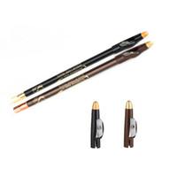 черная водостойкая бровь оптовых-1PC Waterproof Long-lasting Excellence Eyebrow Eyeliner Eye Brow Eye Liner Pencil  Tools Brown/Black With Sharpener Lid M2