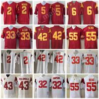 Wholesale bush men - Men Football 33 Marcus Allen Jersey USC Trojans College Red White 42 Ronnie Lott 2 Robert Woods 6 Mark Sanchez 55 Junior Seau 5 Reggie Bush