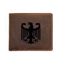 brieftasche flagge großhandel-Gravierte Deutsche Adler Flagge Kurze Brieftasche leder Männer Geldbörse Taschen Benutzerdefinierte Name FRID Sperrung kartenhalter Vintage Brieftasche Männlichen