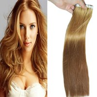 hint remy insan saç sarışın toptan satış-# 27 bal Sarışın Bant In Remy Saç Uzantıları 40g 100g Sarışın Renk Hint Ipeksi Düz İnsan Bant Saç Uzantıları