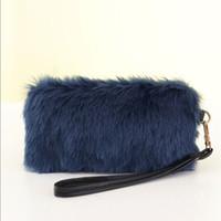 сумочки для сцепления оптовых-Fashion Handbag Faux Fur Clutch Bag Long Purse Wallet Bag Women Plush HandBags Tote Popular