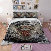 cama de coruja cheia venda por atacado-Casos Owl cama Set animal Duvet Cover Quilt fronha gêmeo completa Rainha Rei Super King duplas 3pcs