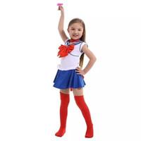 sıcak donanma kıyafeti toptan satış-Sıcak Anime Süper Sailor Moon Cosplay Kostümleri Set Usagi Donanma Elbise Çocuk Kız Fantezi Kostüm Çocuk Giysileri Cadılar Bayramı Performans