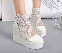Wholesale Cheap Wedges Heels - Fall Winter Lace Wedding Shoes Bridal Boots Bridal Shoes White Sheer Wedding Ankle Boots Cheap Girl Casual Shoes