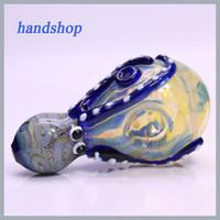pequeñas formas de vidrio al por mayor-Tubo de cristal colorido que fuma pulpo de cristal Tubos de mano pequeños de la tubería NUEVO diseño Bong que fuma agradable