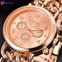 enlace reloj de cuarzo al por mayor-Reloj de pulsera de mujer de moda oro rosa de acero inoxidable cadena de eslabones de banda Geneva reloj de pulsera de cuarzo analógico reloj mujer de lujo