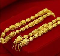 collares de transporte al por mayor-pesado Pesado! Cuenta de transporte 48g 24k dragón Real Amarillo Oro macizo Collar de hombre Cadena de acera 5 mm Joyas letras de marca de menta 100% oro real