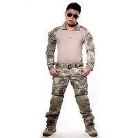 Wholesale army full combat uniform for sale - Tactical Suit Army Uniform Combat Shirt Pants With Elbow Knee Pads Camo Set Hunting Clothes Paintball Clothing