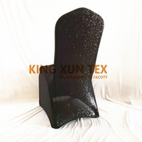Wholesale black lycra chair covers - Black Color Back With Sequin Lycra Sandex Chair Cover For Wedding Decoration