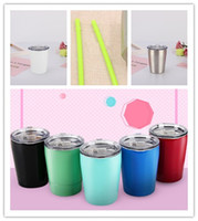 Wholesale wholesale minimum - Toddler tumbler kid mug 9oz stainless steel double wall insulated vacuum sipping cup MINIMUM 5PCS thermos with straw free shipping