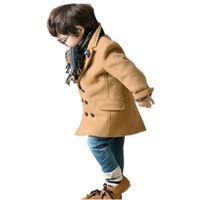 caballero abrigo niño al por mayor-Chaqueta de abrigo de estilo caballero sólido retro abrigo clásico para 2-10 años niños niños niños ropa interior gruesa caliente tops ropa
