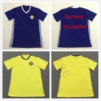 camisetas de fútbol amarillo marrón al por mayor-Copa Mundial de Fútbol de Escocia 2018 39 39 QSTURM 8 BROWN 11 RITCHIE 13 FORREST Personalizar Camiseta de fútbol azul amarillo hogar lejos