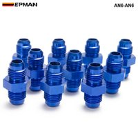 Wholesale aluminum oil tank - 10pcs lot Blue AN6-AN6 Male Blued Anodized Aluminum Union Adapter Fittings For All Oil coole   Fuel Tank AN6-AN6
