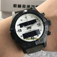 ingrosso tessuto bianco nero-3 orologi di alta qualità di stile aerospaziale Evo 43 millimetri cronometro al quarzo degli uomini di orologi E7936310 nero PVD quadrante bianco di cinturino tessile agli orologi da uomo