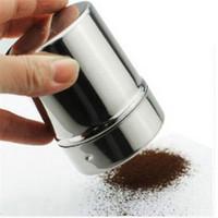 şeker ufalayıcıları toptan satış-1 adet Paslanmaz Çelik Çikolata Shaker Kakao Un Kapaklı Kapaklı Buzlanma Şeker Tozu Kahve Elek Kahve Setleri Araçları Aksesuarları F0193