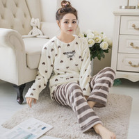 c504b4bae1 Thick Warm Print Flannel Pajamas Sets for Women 2018 Winter Long Sleeve  Coral Velvet Pyjama Cute Sleepwear Homewear Pijama Mujer