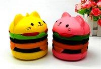 ingrosso burger squishy-Burger Jumbo Squishy Toys Testa di gatto Burger Slow Rising Toy Novità Simulazione Food Soft Slow Slow Rebound PU Arts