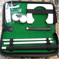 indoor-golf-trainingshilfen großhandel-Tragbare Golf Putter Practicee Set Reise Indoor Golf Ball Halter Putting Trainingshilfen Werkzeug Mit Tragetasche Geschenke