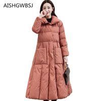 casaco exterior longo venda por atacado-2018 novas mulheres casaco de algodão de inverno na longa seção de moda fino sobre o joelho espessamento outer Slim jaqueta quente TQ260