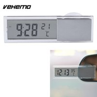Wholesale digital thermometers for cars - Vehemo 2 in 1 Digital LCD Clock Thermometer Suction Cup for Car Monitor Accessories